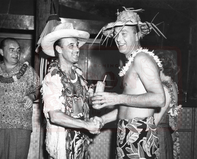 January 7th, 1951 bandleader Freddy Martin visits Don the Beachcomber on Waikiki.